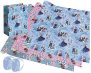 3 Rollen Geschenkpapier + Geschenktasche, 2 Geschenkband Frozen die Eiskönigin Blau, Rosa - Anna, Elsa, Olaf - Weihnachten