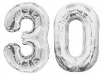 Folien Ballon Zahl 30 in Silber - XXL Riesenzahl 86 cm zum 30. Geburtstag in Silber