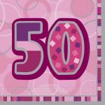 50. Geburtstag Servietten Pink