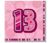 13. Geburtstag Servietten Pink