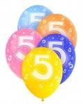 5 Geburtstags Luftballons mit der Zahl 5