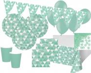 XXL 45 Teile Party Deko Set Mint Fractals für 8 Personen