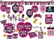 Piraten Party in Pink Deko Geburtstags Set