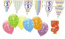5. Geburtstag Girlande + Luftballons + Kerze Deko Set - Fünf