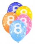 5 Geburtstags Luftballons mit der Zahl 8