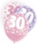6 Luftballons zum 30. Geburtstag in Pink