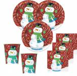 32 Teile Schneemann im Wind Weihnachts Deko Set 8 Personen