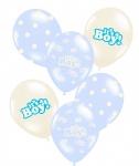 6 Baby Shower It´s a Boy Pastell Blau Luftballons