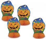 4 kleine Halloween Tischaufsteller Frecher Kürbis