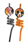 2 gebogene Trinkhalme Micky + Minnie Halloween