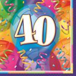 48 bunte Servietten zum 40. Geburtstag