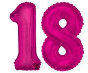 Folien Ballon Zahl 18 in Pink - XXL Riesenzahl 86 cm zum 18. Geburtstag in Pink