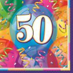 16 bunte Servietten zum 50. Geburtstag