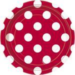 8 kleine Teller Rot mit Punkten