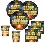 48 Teile Happy Birthday Feuerwerk Deko Set 16 Personen