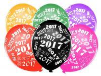 6 bunte Luftballons Silvester und Neujahr 2017
