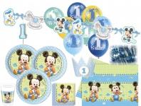 85 Teile Disney Baby Micky zum Ersten Geburtstag Party Deko Set 16 Personen 1. Geburtstag
