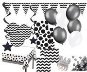 XXL Party Deko Set Schwarz Weiß Muster Mix für 16 Personen