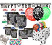 XXL 2017 Silvester Happy New Year Vintage Deko Set 8 Personen
