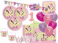 84 Teile Disney Baby Minnie zum Ersten Geburtstag Party Deko Set 16 Personen 1. Geburtstag