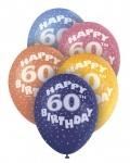 5 bunte Luftballons zum 60. Geburtstag