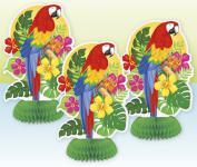 3 kleine Tischaufsteller Südsee Karibik Papagei