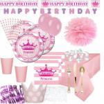 111 Deluxe Prinzessinnen Party Deko Set für 8 Personen Royal Princess