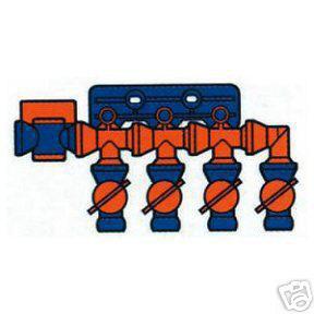 """Kühlmittelschlauch 4Fach Verteiler mit Sperre 1/4"""" 6 mm"""