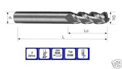 Schaftfräser 10 mm Lang VHM 3 schneidig 45° DIN 6535 - Vorschau