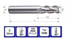 VHM Schaftfräser 8 mm für Alu 2 schneidig 55° DIN 6535