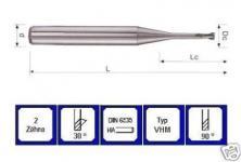 Mini Schaftfräser 0,4 mm VHM 2 schneidig 30° DIN 6535