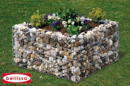 Bellissa Hochbeet 4-Eck 80x80cm Blumentopf Gabionen Gartendeko