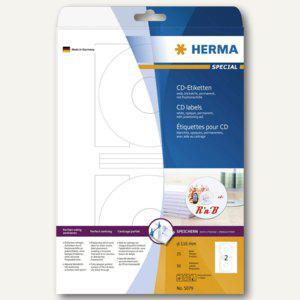 Herma CD-Etiketten, A4, Ø 116 mm , Papier matt, blickdicht, weiß, 50 Stück, 5079 - Vorschau