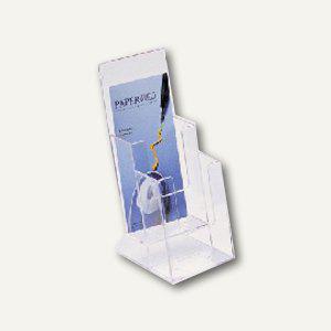 Helit Prospekt-Tischaufsteller, 2 Fächer DIN lang, glasklar, 4er-Pack, 23515-02 - Vorschau