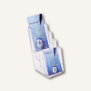 Helit Prospekt-Tischaufsteller, 4 Fächer DIN lang, glasklar, 3er-Pack, 23520-02 - Vorschau