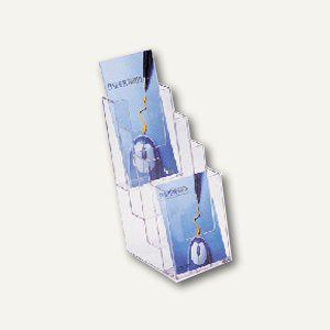 Helit Prospekt-Tischaufsteller, 4 Fächer DIN lang, glasklar, 3er-Pack, 23520-02