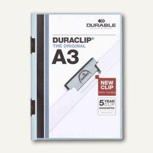 Durable Klemm-Mappe DURACLIP A3, bis 30 Blatt, hellblau, 10 Stück, 2218-06