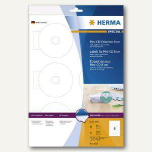 Herma CD-Etiketten Mini weiß Ø 78 SPECIAL A4, 5 x 60 Stück, 8619 - Vorschau