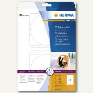 Herma CD-Etiketten, weiß Papier glänzend, ø 116mm, 50 St., 4914 - Vorschau