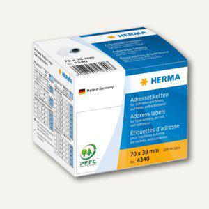 Herma Adress-Etiketten auf Rollen, 70x38mm, 4x250 St., 4340