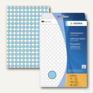 Herma Vielzweck-Etiketten, ø 8 mm, blau, 5 x 5.632 Stück, 2213