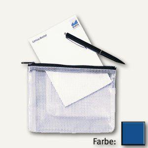 Rexel Mesh Bag Reißverschlusstasche DIN A4, farblos/blau, 10 Stück, 1300259 - Vorschau