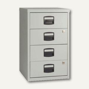 Büroschubladenschrank, 4 Materialschübe, H672xB413xT400 mm, grau - Vorschau