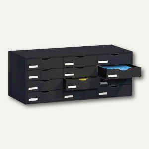 Paperflow Schubladensystem Stapelelement, 12 Schubladen, schwarz, 9H4441.01 - Vorschau