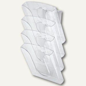 Tisch-/Wandprospekthalter Presenter Set, glasklar, 4 Stück+Adapter, 5400-00-02