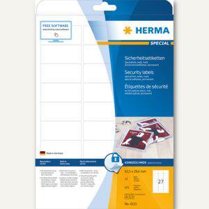 Sicherheitsetiketten 63.5x29.6 mm, extrem stark haftend, Folie matt, weiß, 675St