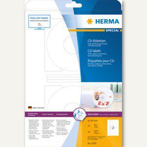 CD-Etiketten, Ø 116 mm (Innenloch 41 mm), blickdicht, matt, weiß, 50 Stück, 5079 - Vorschau