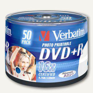 Verbatim DVD+R, 4, 7 GB, 16x, printable, Spindel, 50 Stück, 43512