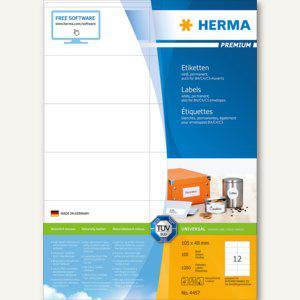 Herma Etiketten Premium A4, weiß 105x48 mm Papier matt 1200 Stück, 4457 - Vorschau