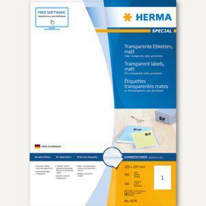 Herma Folien-Etiketten, 210 x 297 mm, transparent matt, 100 Stück, 4376